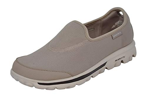Skechers Women's Go Walk Impress Memory Foam Slip-On Walking Shoe (7 M US, Stone)