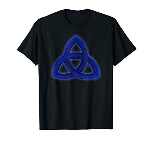 Triquetra Holy Trinity blue symbol T shirt by Mortal Designs