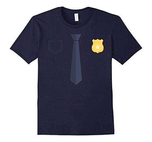[Men's Police Officer Uniform T-Shirt Costume Party Tee Medium Navy] (Police Costume Shirt)