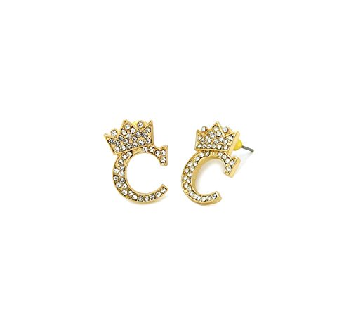 Unisex Crown Tilted Initial Alphabet Letter Pierced Post Stud Earring Gold, Silver Tone (C - Gold) -