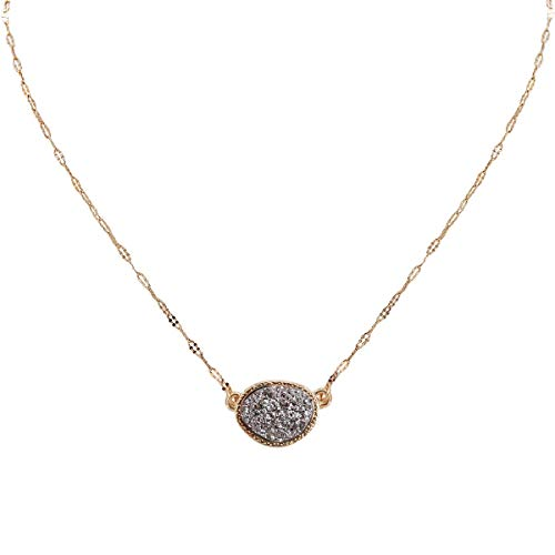Humble Chic Simulated Druzy Delicate Necklace - Gold-Tone Dainty Chain-Link Simple Pendant - Oval Created Geode Stone Charm, Simulated Hematite, Grey, Metallic, Silver-Ton