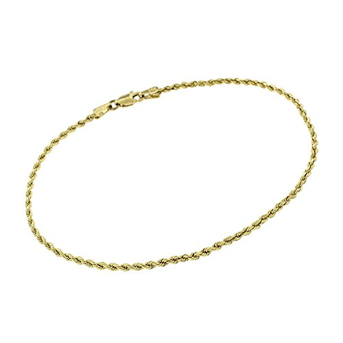 14k Yellow Gold 2mm Hollow Rope Diamond-Cut Link Twisted Anklet Bracelet Chain 10