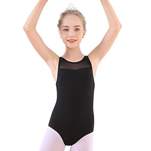 (Soudittur Girls Teens Ballet Tank Leotards Cotton Tops Cross Back for Dance Gymnastics Mesh Dancewear Activewear Black 12-13 Y)