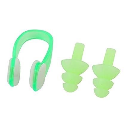 eDealMax Los tapones de plástico de silicona Verde Set Clip de la nariz Para Nadar Nadar