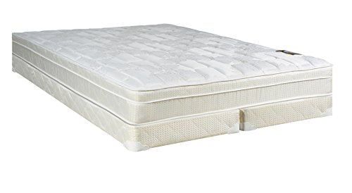 Continental Sleep Plush Quilted Euro Top Orthopedic Ultimate 10-Inch Mattress and Low Profile 5-Inch Split Box Spring, Full, White - Low Profile Split Box Spring