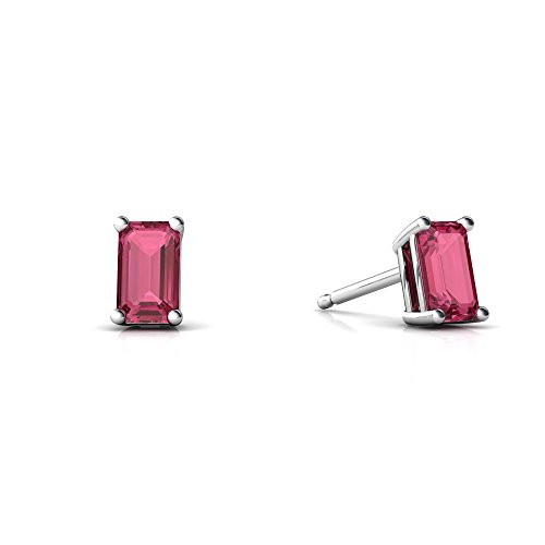 Emerald Earring Tourmaline Cut Pink - 14kt White Gold Pink Tourmaline 5x3mm Emerald_Cut Emerald-Cut Stud Earrings