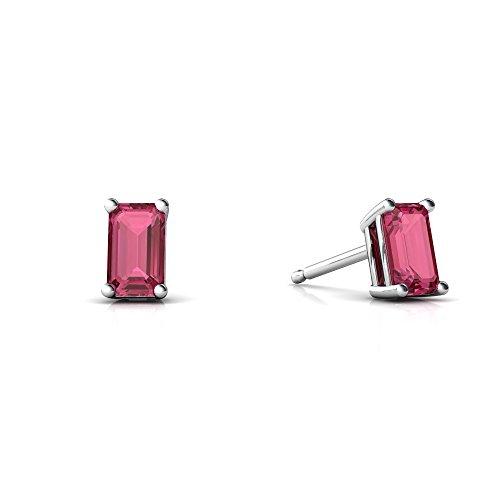 Cut Tourmaline Pink Emerald Earring - 14kt White Gold Pink Tourmaline 5x3mm Emerald_Cut Emerald-Cut Stud Earrings