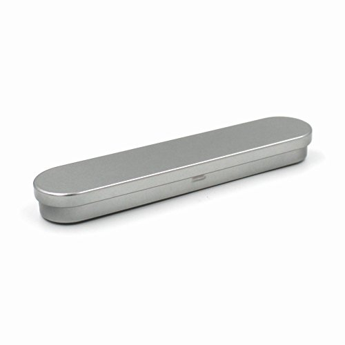 Hinged top silver tin box straight razor box gift case for Health craft cookware reviews