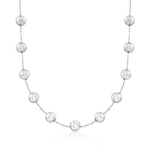 Ross-Simons 8mm Sterling Silver Bead Station Necklace by Ross-Simons
