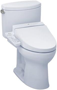 Toto Mw4542034cefg 01 Washlet Drake Ii Two Piece Elongated 1 28 Gpf Toilet And Washlet C100 Bidet Seat Cotton White Amazon Com