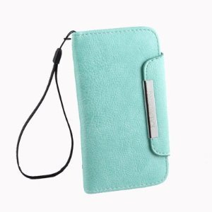 Cyan Folio Leather Wallet Case Cover for Samsung Galaxy S III S3 i9300