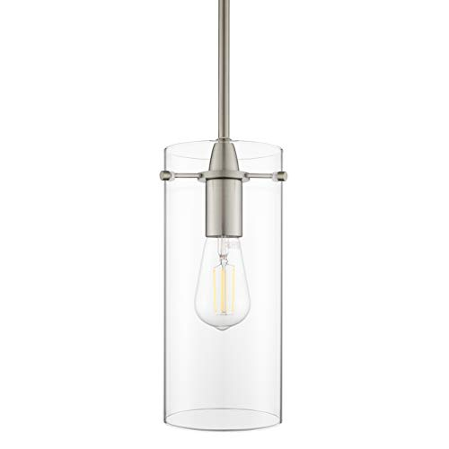 Effimero Large Hanging Pendant Light | Brushed Nickel Kitchen Island Light, Clear Glass Shade LL-P315-BN
