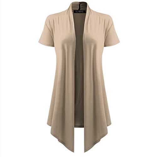 Pretty Cardigan Womens Soft Drape Short Sleeve Smock Sun Wear Blouse Tops Khaki