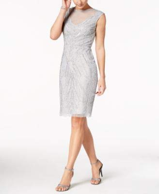 - Adrianna Papell Womens Knee-Length Embellished Cocktail Dress Blue 6