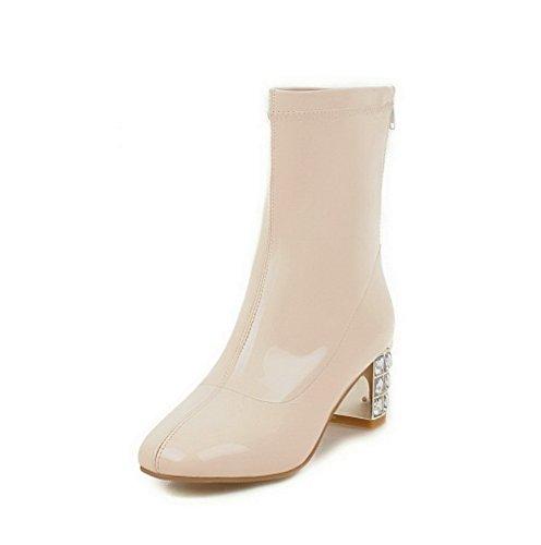 AgooLar Damen Flaum Futter Mittler Absatz Quadratisch Zehe Rein Reißverschluss Stiefel, Weiß, 34