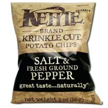 Kettle Krinkle Cut Salt and Fresh Ground Pepper Potato Chips - 2 oz. bag, 24 per (Krinkle Cut Potato Chips)
