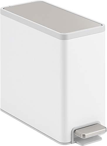 KOHLER K-20957-STW 2.5 gallon Slim Step Trash Can, White With Stainless Steel