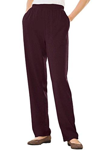 Womens Plus Size Straight Leg 7 Day Knit Pants Midnight Berry 1X