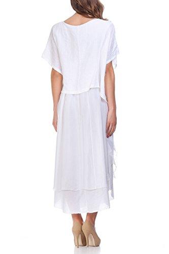Laura Moretti - Midi lino y vestido de seda Blanco