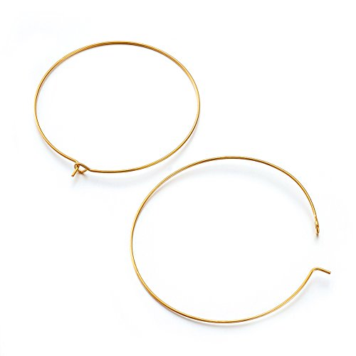 Pandahall 20pcs Golden Plated Brass Earring Hoops Ear Wires Hook Wine Glass Charm Rings 45mm