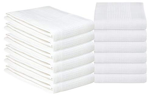 ING Solid Waffle Kitchen Towel 18x28 White ()