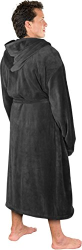 NY Threads Luxurious Men's Shawl Collar Fleece Bathrobe with Hood (Grey, L/XL) by NY Threads