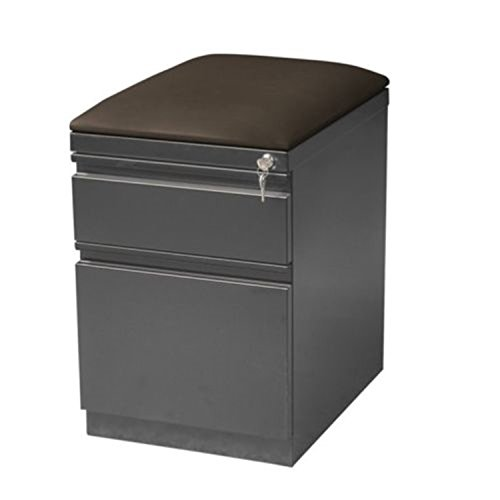 NEW filling cabinet File Storage Hirsh 2 Drawer Mobile with Seat in Charcoal (Narrow Drawer Lock File Cabinet)