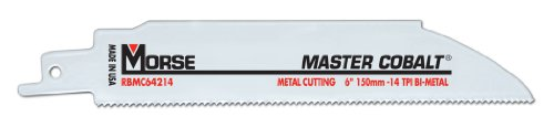 MK Morse RBMC64214T05 Master Cobalt Bimetal Reciprocating Saw Blade, 6-Inch by .042 14TPI, 5-Pack ()