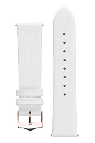 Signature Easy watch band. Replacement watch strap. Genuine leather. Gold and Rose Gold Buckle (20 mm, White - Rose Gold Buckle) - White Gold Roses