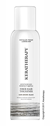 Keratherapy FIBER THICKENING SPRAY 4 OZ Keratin Infused Perfect Match for Fuller, Thicker Looking Hair! (Dark (Hair Color Match)