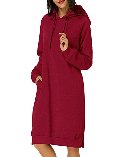 Kidsform Women Autumn Long Sleeve Loose Hoodies Hooded Sweatshirt Fleece Long Dress Wine Red -