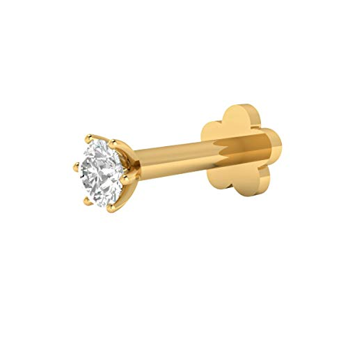Diamond Labret Jewelry - Animas Jewels DGLA Certified 14k Yellow Gold Solitaire Stud Nose Pin for Women 0.04 Cttw Natural Diamond (H-I Color. I1 Clarity) Round Cut 6-Prong Setting Available in 6 mm & 8 mm Length (6)