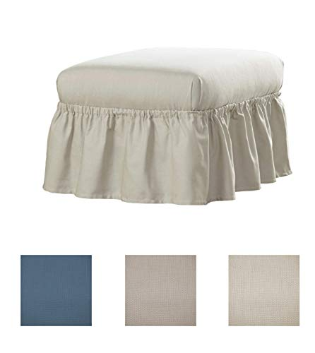 (Serta | Relaxed Fit Durable Woven Linen Canvas Furniture Slipcover (Ruffle Ottoman, Natural))