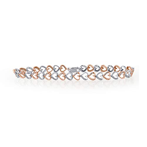 1/5 Carat Natural Diamond Bracelet 10K White Gold and Rose Gold (I-J Color, I2-I3 Clarity) Diamond Heart Bracelet for Women Diamond Jewelry Gifts for Women