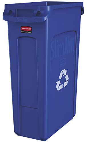 Rubbermaid Commercial Products Slim Jim Plastic Rectangular Recycling Bin with Venting Channels, 23 Gallon, Blue Recycling (FG354007BLUE) ()