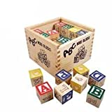 ZZ ZONEX 27 Pcs ABC / 123 Wooden Blocks Letters Numbers with Box Storage Case