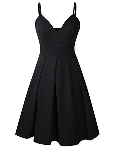 Women's Deep V Neck Adjustable Spaghetti Straps Summer Dress Sleeveless Sexy Party Midi Skater Dresses with Pocket Black -