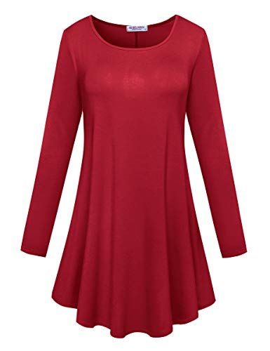 BELAROI Women's Comfort Long Sleeve Tunic Round Neck T-Shirt Casual Blouses Tops(1X,Wine ()