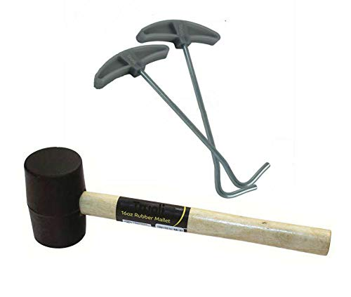 Tent Peg Extractor Puller Remover /& 16oz Rubber Mallet Wooden Camping Hammer Set