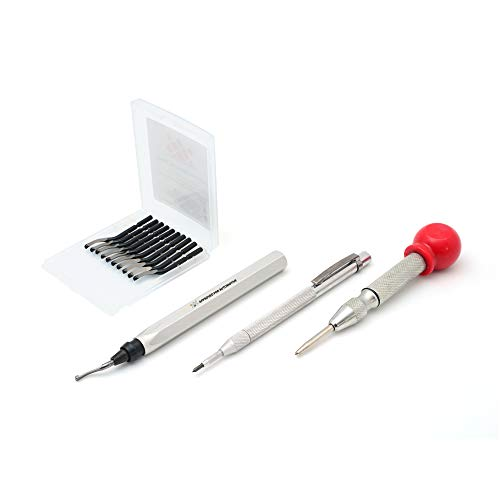 AFA Tooling Deburring Tool w/Blade + 10 Extra Blades + Tungsten Carbide Scribe + Automatic Center Punch