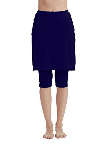 Aunua Women UPF 50+ Swimming Skirt with Legging UV Sun Protection Swim Skort Capris Shorts(9005 NavyBlue M)
