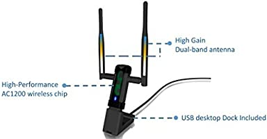 Alfa Long-Range Dual-Band AC1200 Wireless USB 3.0 Wi-Fi Adapter w//2x 5dBi