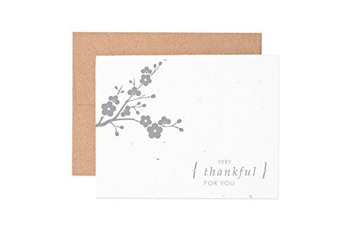 Ruff House Art Cherry Blossom Thank You Wildflower Seeded Letterpress Greeting Card Box Set ()