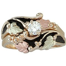 Black Hills Gold Womens 10k Antiqued Bridal Set with Engagement Ring & Wedding Ring from Coleman - Sizes 4 - 14