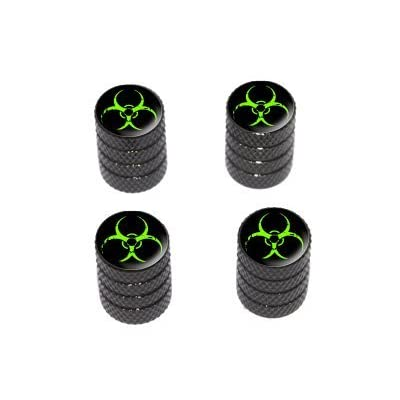 Zombie Outbreak Response Vehicle Green Biohazard - Tire Rim Valve Stem Caps - Black: Automotive