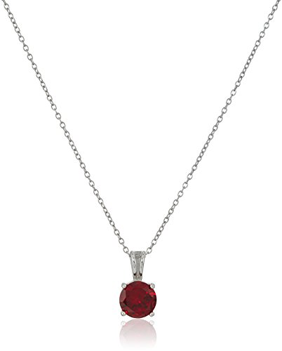 Sterling Silver Ruby Pendant - Sterling Silver Created Ruby July Birthstone Pendant Necklace, 18