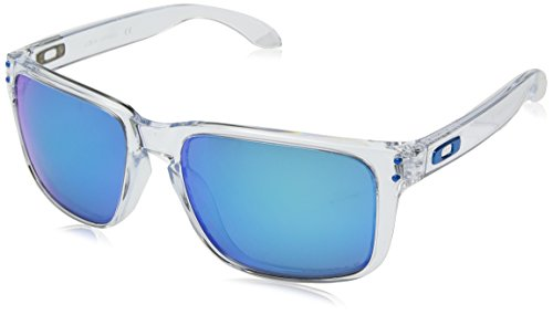 Oakley Men's OO9417 Holbrook XL Square Sunglasses, Polished Clear/Prizm Sapphire Polarized, 59 mm