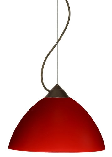 Besa Lighting 1KX-420131-LED-BR 1X6W GU24 Tessa LED Pendant with Red Matte Glass, Bronze Finish
