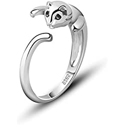925 Sterling Silver Lovely Kitten Tail Ring, Adjustable Size