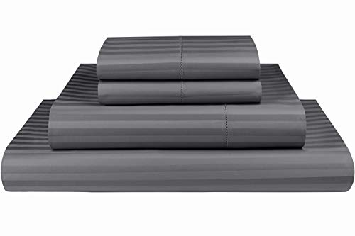 Threadmill Home Linen 600 Thread Count 100% Cotton Sheet Set, 1CM Damask Stripe Dark Grey Cotton Full Size Sheets, Luxury Bedding, 4 Piece Set, Cotton Bed Sheets, Fits Mattress Upto ()